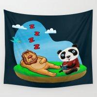 leon Wall Tapestries featuring Lion & Panda by gunberk