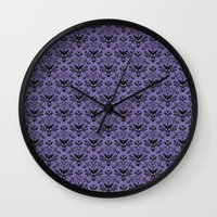 haunted mansion Wall Clocks featuring Haunted Mansion Wallpaper by MiliarderBrown
