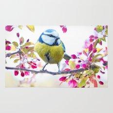 Romantic Flower Blossom with blue tit spring bird Rug