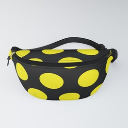 Yellow Circles on Black Background Fanny Pack