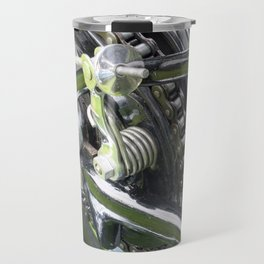rear wheel and drive chain of a black vintage motorcycle Travel Mug