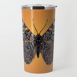Blue Hamadryas Paisley Butterfly - Dark Brown, Sky Blue, Apricot Travel Mug