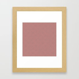Vintage New England Shaker Barn Red and White Milk Paint Small Square Checker Pattern Framed Art Print