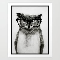 sketch Art Prints featuring Mr. Owl by Isaiah K. Stephens