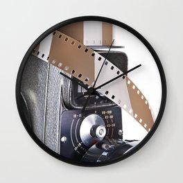 Retro mechanical movie camera and film Wall Clock