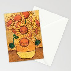 Flowers - Reinterpretation of Vase with 12 sunflowers by Vincent Van Gogh - Kids Art for sale Stationery Cards