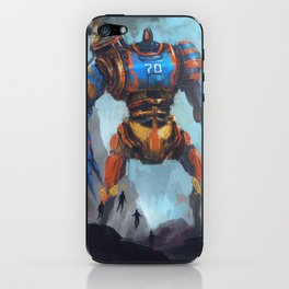 Steampunk giant robot vs five flying heroes iPhone & iPod Skin