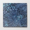 Watercolor .  Black and blue floral pattern . by fuzzyfox85