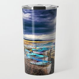 Blue Boats on the Shore Travel Mug