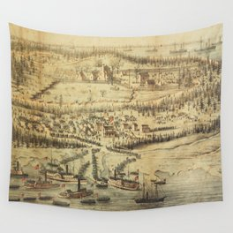 Old Roanoke Island Burnside Expedition Map (1862) Wall Tapestry