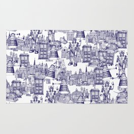 Doctor Who Toile de Jouy | 'Walking Doodle' | Blue Rug