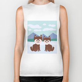Kawaii funny brown husky dog, face with large eyes and pink cheeks, boy and girl, mountain landscape Biker Tank