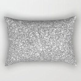 Elegant chic girly faux silver trendy abstract glitter Rectangular Pillow