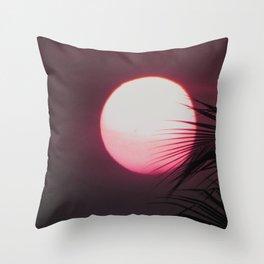 Sun, Tropical, Palm, Nature, Pink, Scandinavian, Minimal, Modern, Wall art Throw Pillow
