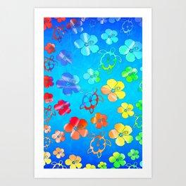 Tie Dye Honu And Hibiscus Art Print