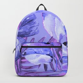 TROPICAL FERNS AND FLOWERS IN SHADES OF mid blue, purples and navy blue Backpack
