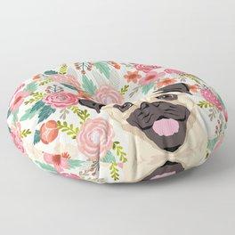 Pug floral dog portrait Pug dog peeking face gifts for dog lover pugs Floor Pillow