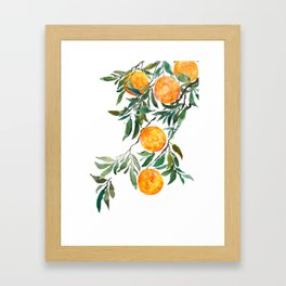 orange watercolor Framed Art Print