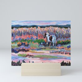 Chincoteague Pony, a colorful landscape of a wild horse in the dunes on the beach in Virginia. Mini Art Print