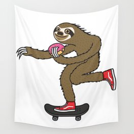 Skater Sloth loves donut Wall Tapestry