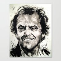 jack nicholson Canvas Prints featuring Jack Nicholson by Chuck Hodi