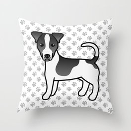 Black And White Smooth Coat Jack Russell Terrier Dog Cute Cartoon Illustration Throw Pillow