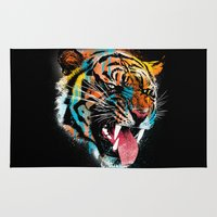 fierce Area & Throw Rugs featuring FEROCIOUS TIGER by dzeri29