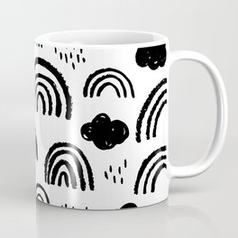 Black and white rainbow clouds Coffee Mug