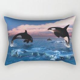 Killer whales in the Arctic Ocean Rectangular Pillow