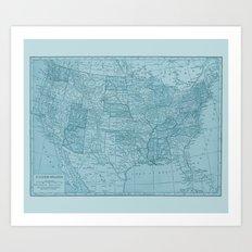 Vintage America in Blue Art Print