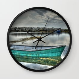 Blue Rocks Green Boat Wall Clock
