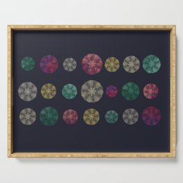 Starry-Lace Mandala Festival (tiny stars, flower and lace repeated round shape) Serving Tray