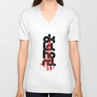 oil V-neck T-shirts featuring Oil-klahoma  by RadFive