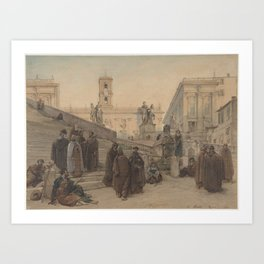 The Campidoglio seen from the Staircase of the Church of the Aracoeli, Rome, at Sunset Art Print