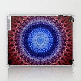 Blue mandala with red raises Laptop & iPad Skin