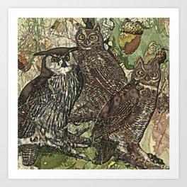 My owls in batik style Art Print