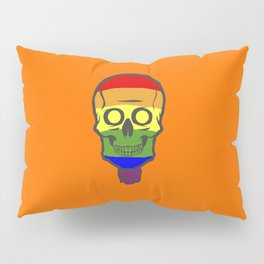 Gay Pride Rainbow Halloween Skull Skeleton Pillow Sham