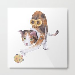 Toy cat with ball Metal Print