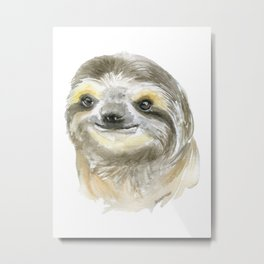 Sloth Face Watercolor Painting Animal Art Metal Print