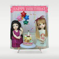 happy birthday Shower Curtains featuring Happy Birthday by ♥  Little Enchanted World ♥