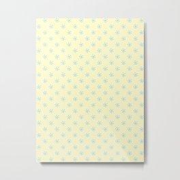 Baby Blue on Cream Yellow Snowflakes Metal Print
