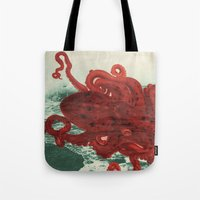 octopus Tote Bags featuring Octopus Beach by Chase Kunz