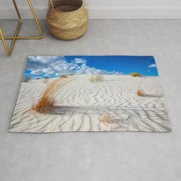 Playground - Vibrant Plant Life and Sandy Textures at White Sands New Mexico Rug