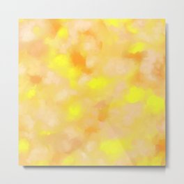 Yellow Liquid Gold Marble Abstract Metal Print
