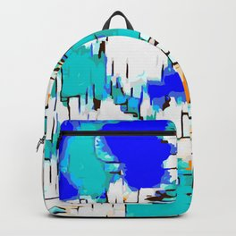 blue green and orange drawing abstract background Backpack