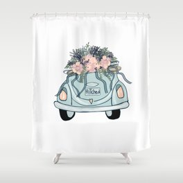 Hitched-Wedding print Shower Curtain