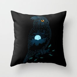 The Owl and the Forest Throw Pillow