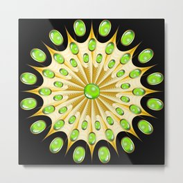 Mandala Gold and Emeralds Metal Print