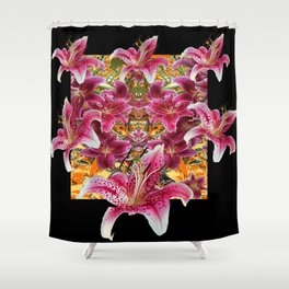 ORIENTAL STAR GAZER  LILIES FLORAL MODERN BLACK ART Shower Curtain