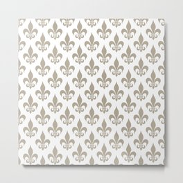 Fleur-de-Lis Pattern: Beige Metal Print